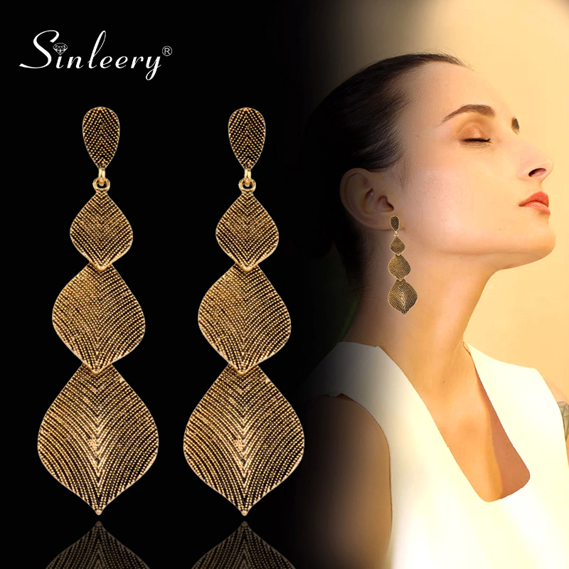 SINLEERY Vintage Long Leaf Drop Earrings Hanging Antique Gold Silver Color Stripe Statement Earrings For Women Jewelry ES192 SSH