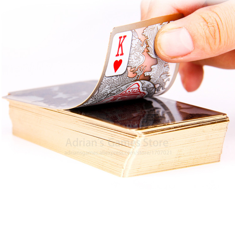 Golden Edge Crystal Plastic Playing Cards Deck Gilt Gold Plated 95*52mm Dragon Poker Cards Long Shape