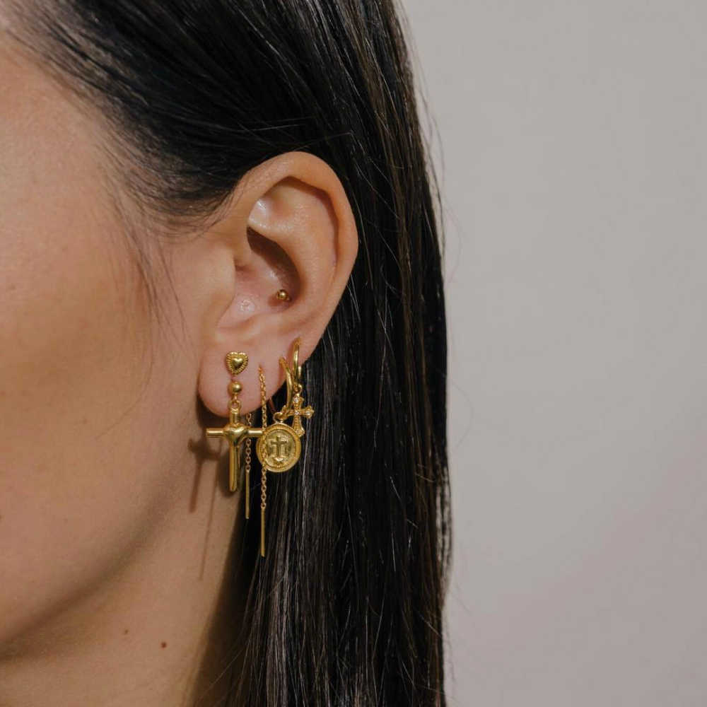 ใหม่ Gold เรขาคณิตพู่กันหัวใจต่างหูสุภาพสตรี Aretes สุภาพสตรีแฟชั่นขนาดใหญ่จี้ต่างหูชุด