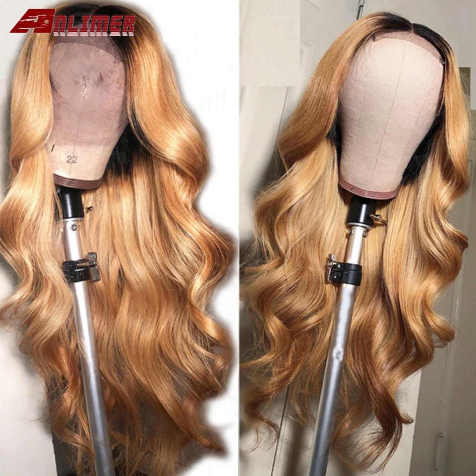 Волнистые Ombre 1B 30 предварительно отобранные человеческие волосы, парики средней части бразильского Remy Ombre светлый бордовый 99J парик фронта шнурка