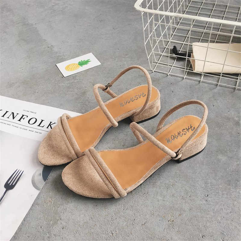 Women's Roman sandals square high-heeled sandals summer shoes women wear narrow ladies fashion sandals slippers
