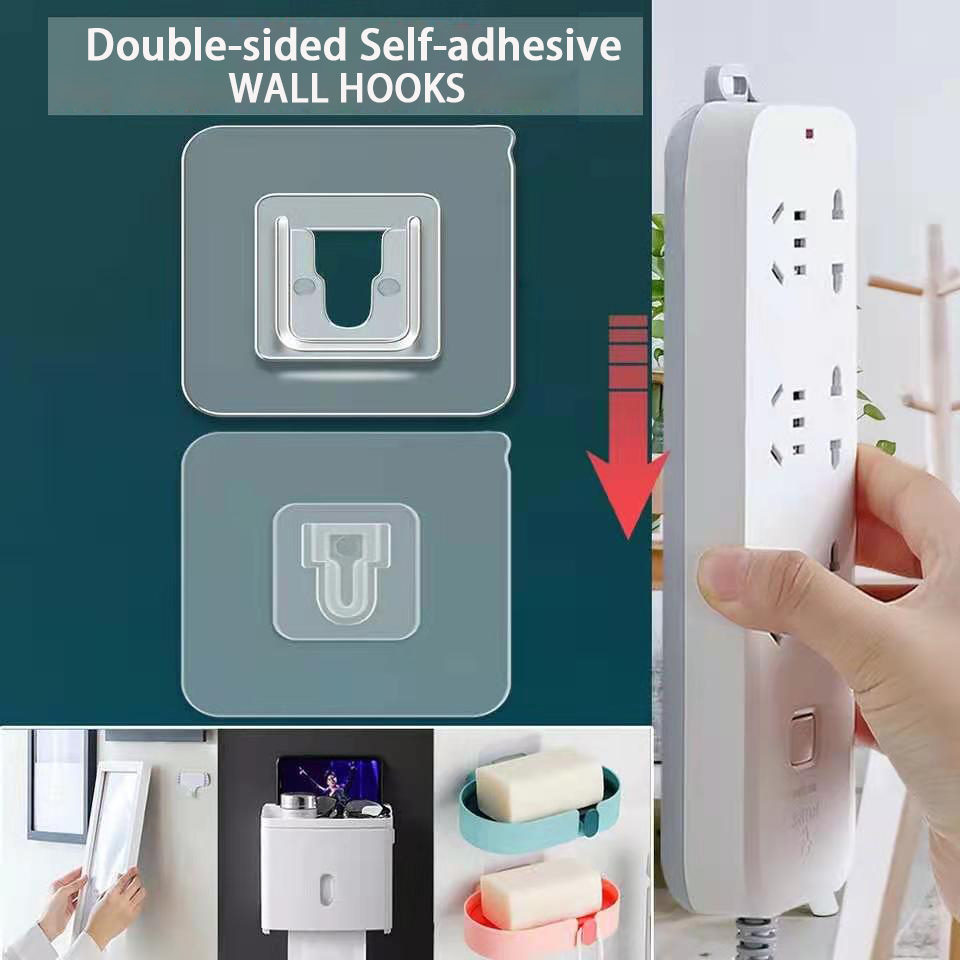 Double-sided Self Adhesive Wall Hooks for Kitchen Bathroom Room Wall Mounted Wall Hanger Rack Organizer Storage Holder Tools