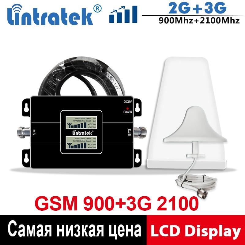 Lintratek GSM 900 3G Repeater 2100Mhz WCDMA Signal Booster 2G 3G Celluar Booster 900 2100 GSM UMTS Signal Repeater 65dB KW17L-GW