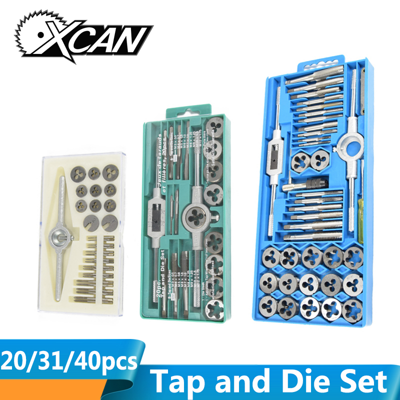 XCAN 20/31/40pcs Tap And Die Set Screw Thread Plug Taps Wrench Die Alloy Steel Hand Tapping Tools Screw Taps Drill