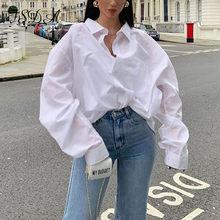 FSDA 2020 Autunno A Maniche Lunghe Sciolto Camicetta Camicia Delle Donne Elegante Bianco Pulsante Turn Imbottiture Collare Casual Shirt Vintage Top di Grandi Dimensioni
