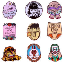 A3615 Patchfan Fashion Horor Logam Enamel Bros dan Pin Pulp Fiction Kerah Pin Ransel Lencana Kerah Kartun Perhiasan(China)