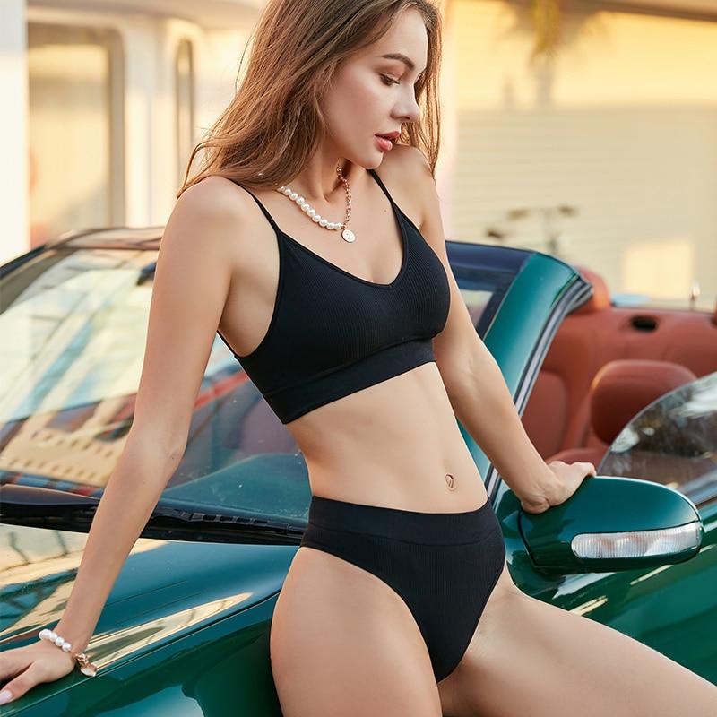 Push Up kadın sütyen külot S-XL seti spor sutyeni seti seksi tanga dikişsiz sütyen külot iç çamaşırı seti moda kırpma üst bayanlar iç çamaşırı