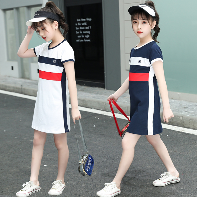 2020 <font><b>Girls</b></font> Summer <font><b>Dress</b></font> Little <font><b>Girls</b></font> Clothing Long <font><b>T</b></font> <font><b>Shirt</b></font> Sport <font><b>Dress</b></font> Fashion Teenage <font><b>Girls</b></font> Clothes Size 6 8 10 13 Kids <font><b>Dress</b></font> image
