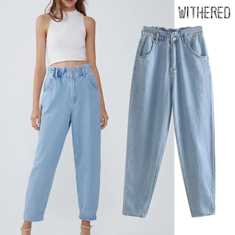 Withered England High Street Packets Vintage Mom Jeans Woman Elastic Waist High Waist Jeans Loose Boyfriend Jeans For Women