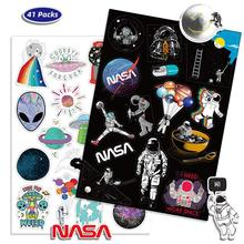 41PCS Outer Space Sticker UFO Alien Astronaut Rocket Cartoon Stickers Gifts Toys for Children DIY Skateboard Laptop Car Phone