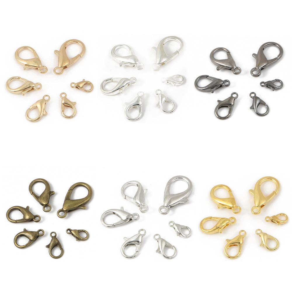 20 Pcs 10 12 14 16 18 21mm Lobster Clasps Hooks for Necklace Bracelet Chain DIY