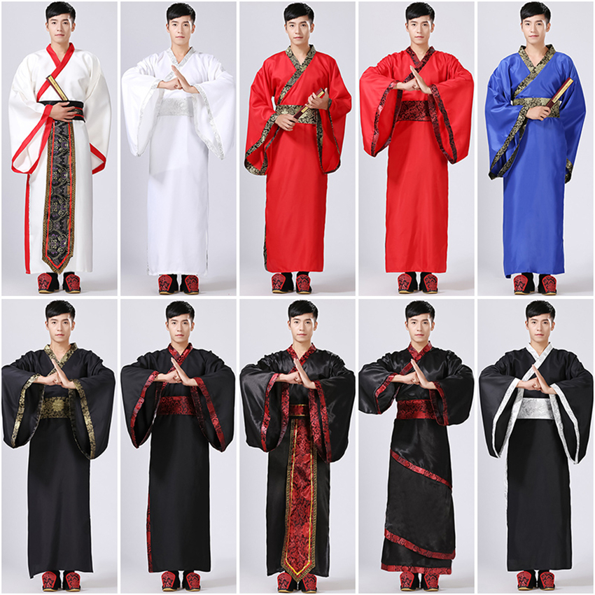 10Color Mens Hanfu Traditional Chinese Clothing Ancient Costume Festival Outfit Stage Performance Clothing Folk Dance Costumes