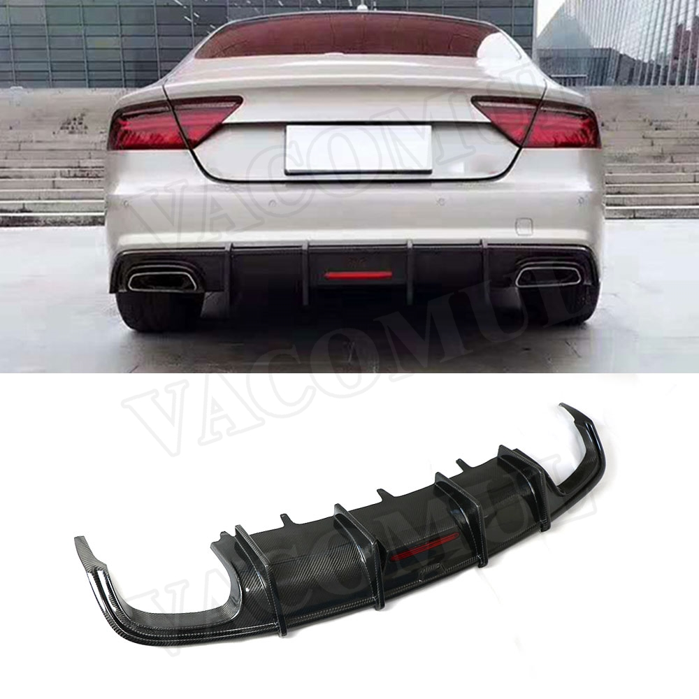 Carbon fiber <font><b>Rear</b></font> Lip <font><b>Diffuser</b></font> Spoiler For <font><b>Audi</b></font> <font><b>A7</b></font> S7 2016-2018 Car Bumper Protector image