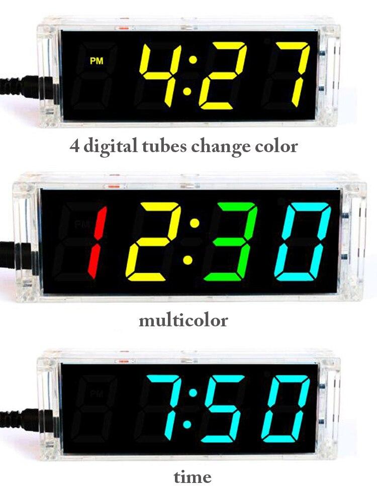 Clock-Kit Digital-Tube Sodering-Project Diy Multicolor Clear-Case Temperature-Date-Display