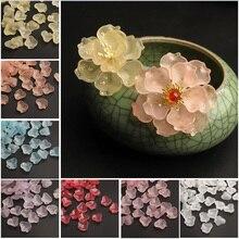 Pendants-Beads-Lot Drilled Flower Crystal Lampwork Glass Jewelry Petal-Shape Making-Findings