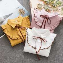 Cotton Blouse Shirt Spring Kids Tops Long-Sleeve School-Girl Striped Children Summer