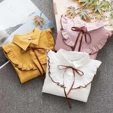 Nuova primavera estate 2020 camicetta di cotone per grandi ragazze vestiti a righe bambini manica lunga scuola ragazza camicia bambini top 2-8 anni