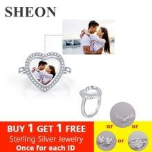 SHEON Personalized Heart Shape Ring 925 Sterling Silver Customizable Photo Fine Jewelry Women Memorial Gift