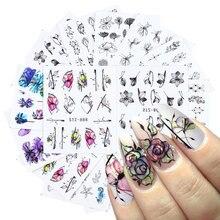 14ピース/セット爪のための蝶の花ラインデザイン水転写箔デカールネイルアートデコレーションラップ紙LASTZ880-902