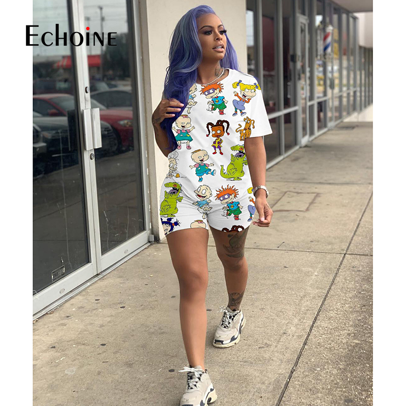 Echoine summer Cartoon Print Women Home Two-piece Set Multi Colors for Choice Womens Clothing Women Sweat Suit Set Plus Sizes