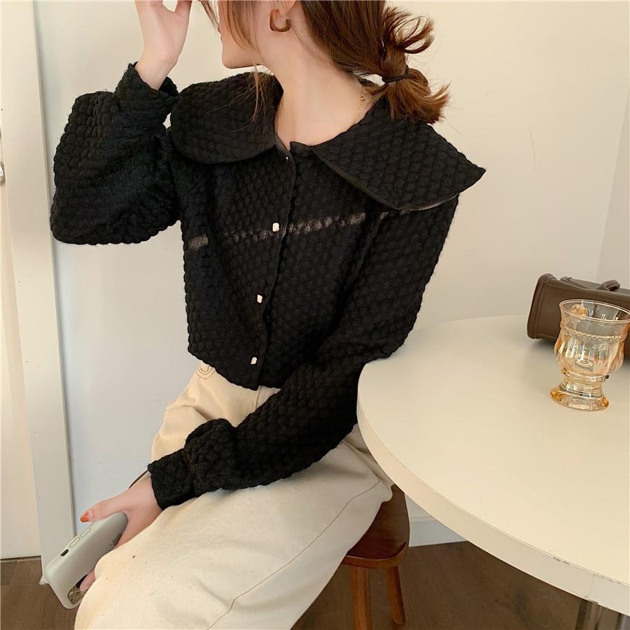 Hfec49131856d4d7183e4e47f60dfd83cx - Spring / Autumn Big Lapel Long Sleeves French Lace Buttons Blouse