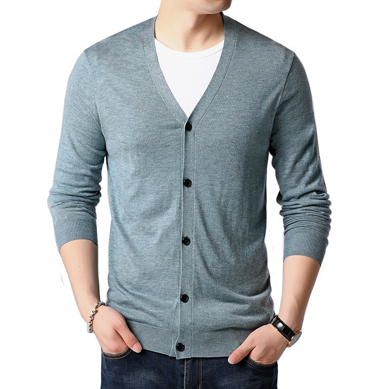 Men's V-neck Knit Sweater Cardigan Slim Cotton Fashion Soft Warm Autumn Wild High Quality Fashion Sweater Jacket 2019 Autumn