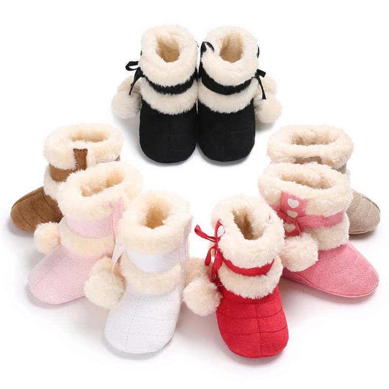 2019 Winter Snow Colors Bowknot Warm Fluff Ball Indoor Soft Rubber Sole 0-2 Years Newborn Toddler Baby Shoes First Walkers Boot