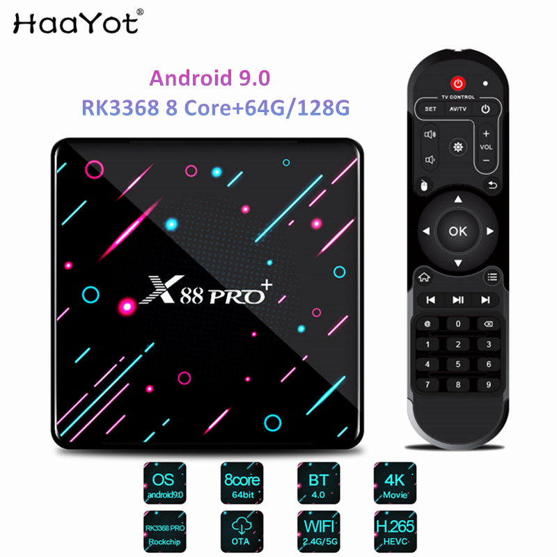 HAAYOT Android 9.0 Smart TV Box Rockchip Rk3368 8 Core 4G 64G/128G Set Top Box Wifi Tvbox Gamer 4K IPTV Mediaplayer Box X88 Pro