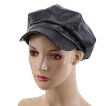 GAOKE PU Leather octagonal cap newsboy cap Retro literary female snapback cap Leisure hat accessories