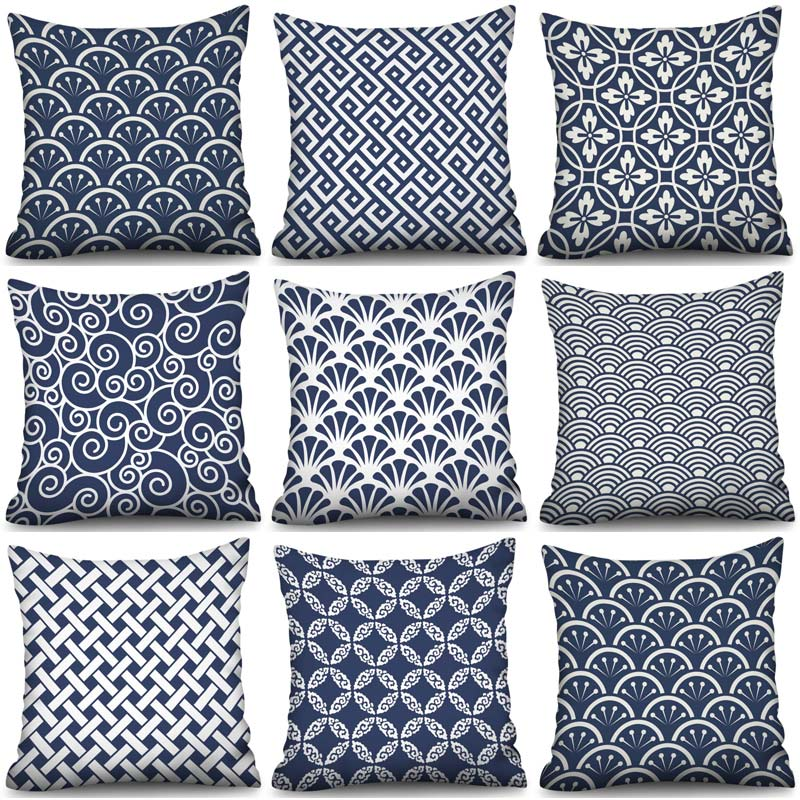 Blue Geometry Cushion Cover Nordic Simple Geometric Decorative Throw Pillows Covers for Sofa Polyester Cotton
