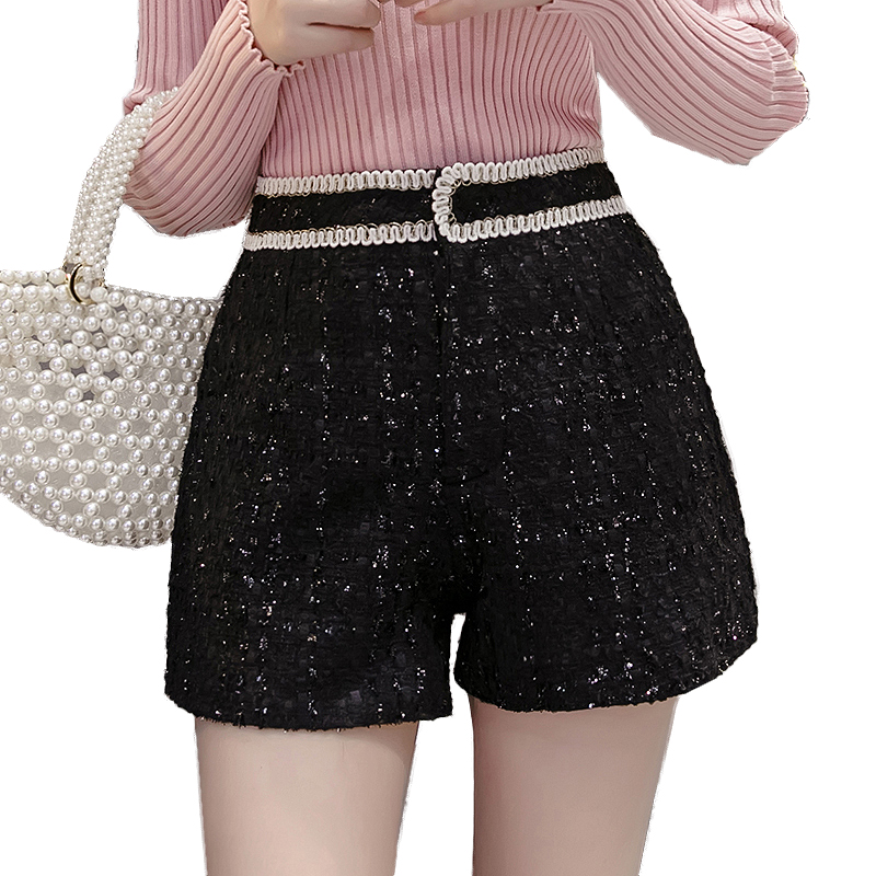 2019 Korean Tweed Shorts Women Autumn Winter High Waist Wide Leg Short Ladies Plus Size Sexy Black White Short Femme