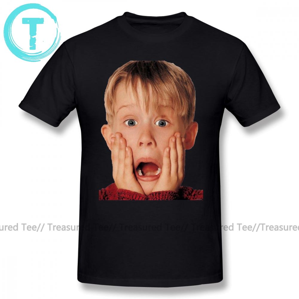 Alone T Shirt Macauly Culkin From Home Alone T-Shirt Beach Short-Sleeve Tee Shirt 100 Percent Cotton Print Awesome Mens Tshirt