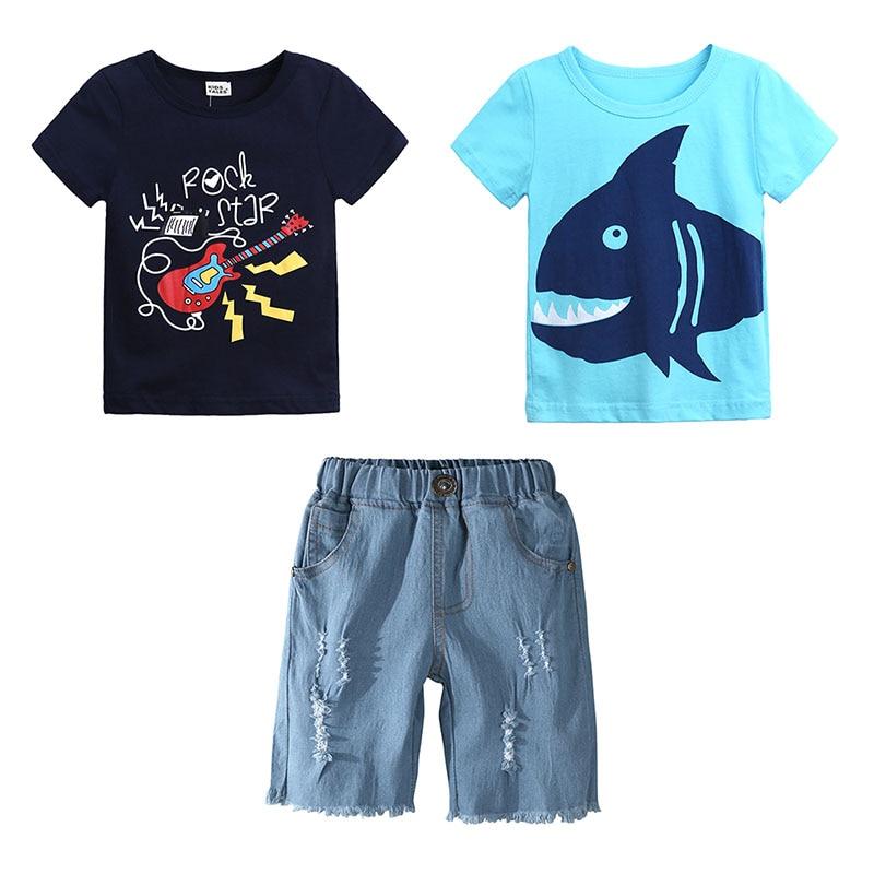 Elvesnest Children Boy Clothes Cartoon Print Toddler Boy Clothes 2 PCS Cotton Short Tops+Short Jeans Summer Kids Clothing 1