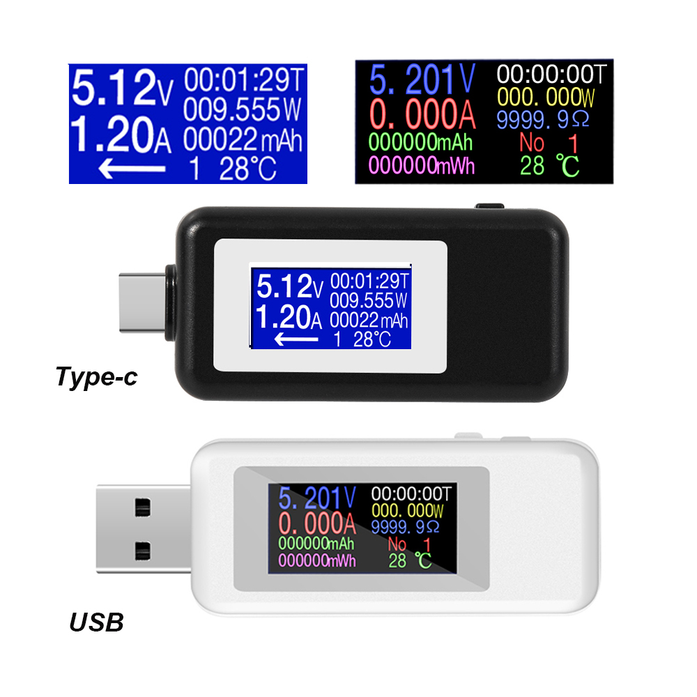 Type-c USB Tester DC Digital Voltmeter Usb Tester Voltage Current Meter Ammeter Detector Power Bank Charger Indicator Voltmeter