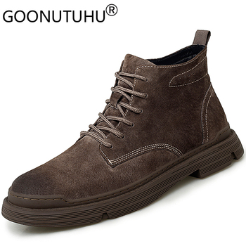 2019 autumn men's ankle boots casual genuine leather pigskin shoes male army combat boot man retro shoe military boots for men