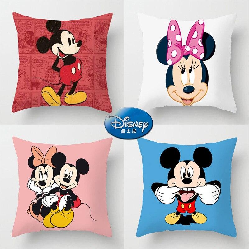 45x45cm Mickey Mouse housse de coussin Disney Minnie dessin animé taie d'oreiller décoration de la maison Textile à la maison