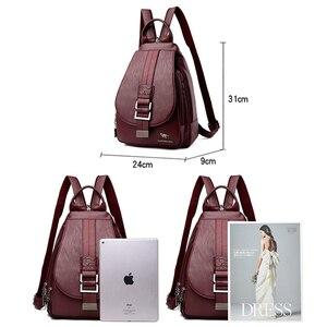 Image 4 - New Women Belt Casual Backpack Soft Genuine Leather Backpack Fashion Kangaroo print School Bags For Teenage Girls Mochila Sac