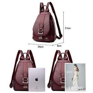 Image 4 - Novas mulheres cinto casual mochila de couro genuíno macio mochila moda canguru imprimir sacos de escola para adolescentes meninas sac