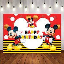 NeoBack Photography background Cartoon Mickey Mouse Custom Child Birthday Party Photo Studio Backdrops Banner(China)