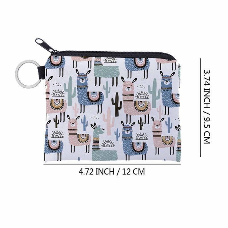 Alpaca 1 Pcs Unisex Dos Desenhos Animados Impressão bolsa de Moedas À Prova D' Água Pequena Bolsa Com Zíper Chave Cartão Bolsa Mini Carteira Quadrado Para O Presente