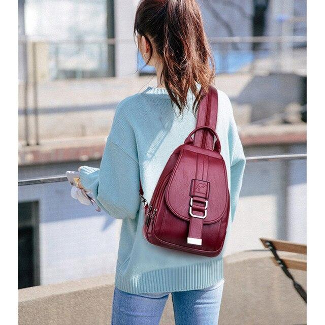 Nouvelles femmes en cuir véritable sacs à Dos de haute qualité Sac A Dos femme voyage Sac à bandoulière Sac à Dos Vintage dames sacs décole