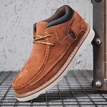 Зимние ботинки; мужская кожаная зимняя обувь; классические уличные мужские рабочие ботинки размера плюс; мужские очень теплые повседневные ботинки; botas hombre