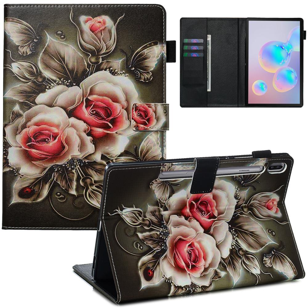 For Samsung Galaxy Tab S6 SM-T860 SM-T865 Tiger Animal Flower Printed Case For Samsung Tabs6 T860 T865 Flip Stand Protector