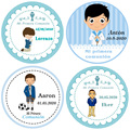 100, 3-7 cm, Spanish My first communion sticker, first communion favor label, baptism, is a boy is a girl sticker, baby shower
