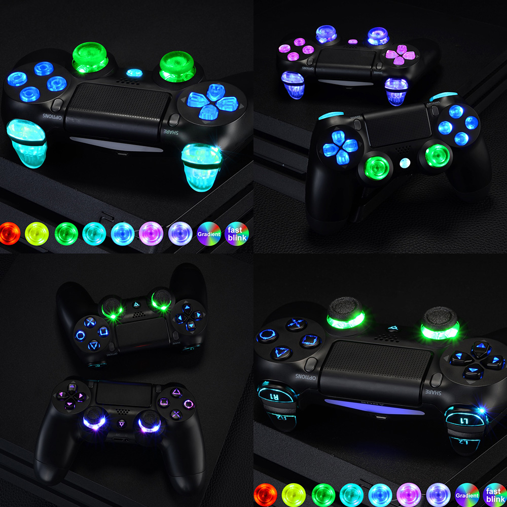 Multi-Farben Luminated D-pad <font><b>L1</b></font> <font><b>R1</b></font> <font><b>R2</b></font> <font><b>L2</b></font> Trigger Thumbstick Home Gesicht Tasten DTF (DTF 2,0) LED Kit für PS4 CUH-ZCT2 Controller image