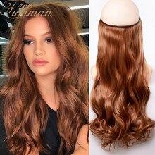 Freewoman brown fio invisível sem grampos em extensões de cabelo peixe secreto linha hairpieces sintético reta ondulado extensões de cabelo