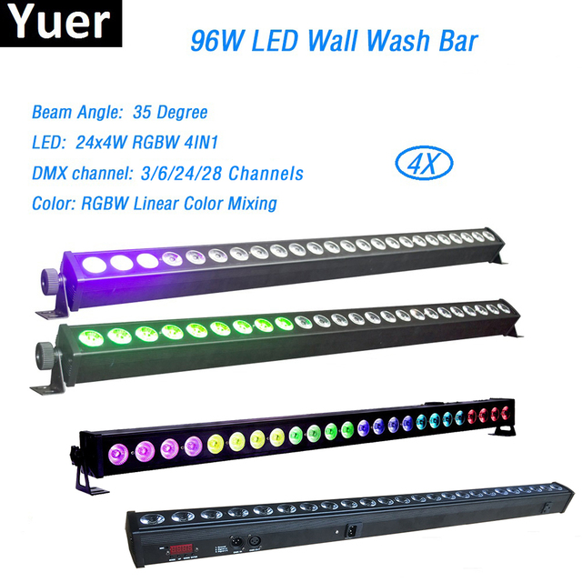 4 ชิ้น/ล็อต 24x4W LED RGBW 4in1 LED กำแพงไฟ 3/6/24/28 ช่อง DMX512 LED BAR ล้างเวทีแสงเพลง DJ DISCO PARTY งานแต่งงาน