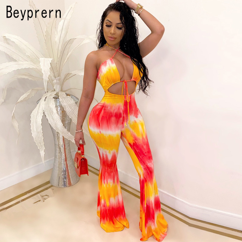Beyprern Beautiful Tie-Dye Cut Out Bandage Jumpsuit Women Sexy Backless Lace-Up Boot Cut Printed Romper Special Occasion Outfits