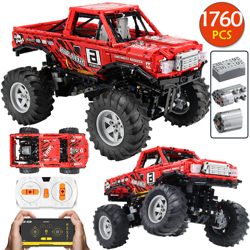1760Pcs City RC/non-RC Racing Car Off Road Vehicle Model Building Block for Technic 4WD SUV Truck Bricks Toys for Boys
