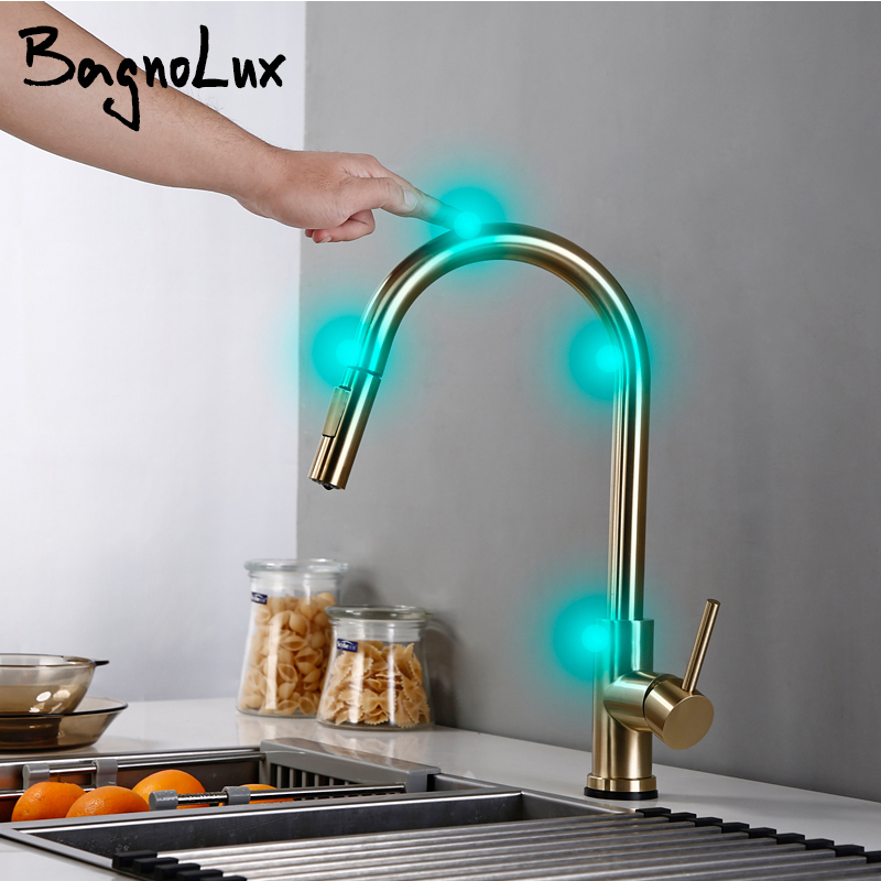 Touch Single Handle Brass Brushed Gold Kitchen Sink Faucet Pull Out Rotation Spray Mixer Tap Faucet Hot And Cold Wate